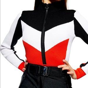 Topshop Sno Slater Red Black Ribbed Bodysuit